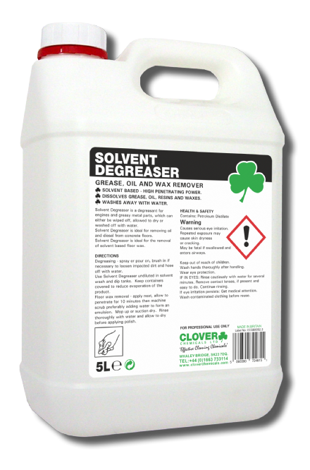 Clover Solvent Degreaser 5L - Oil, Wax and Tar Remover